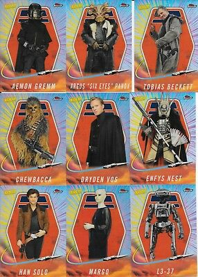 2018 Topps Finest Star Wars Complete 20 Card Solo Insert Set