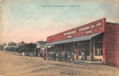 Vintage Postcard Olive Street Mcneil Arkansas 1909 Drugs Groceries Souter Drugs