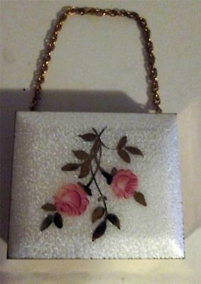 Vintage ENAMEL COMPACT GOLD TONE WITH LIPSTICK HOLDER & WRIST CHAIN roses white