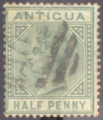 1882 Antigua ½d Dull Green, SG 21 Used