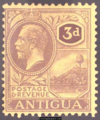 1921 Antigua 3d Purple on pale yellow, SG 55 MH