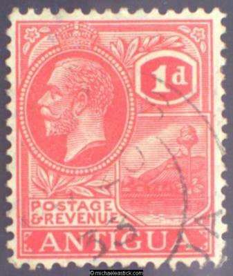 1929 Antigua 1d Bright Scarlet, SG 65 Used