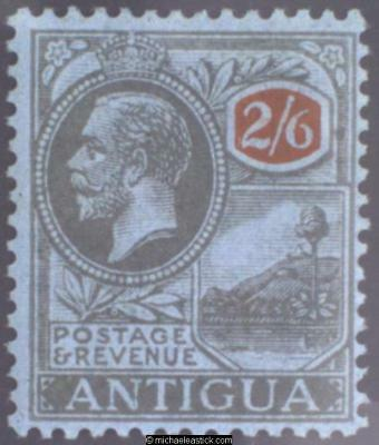 1927 Antigua 2/6 Black and Red on Blue, SG 78 MH