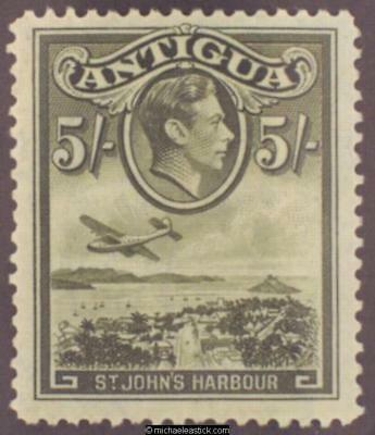 1938 Antigua 5s Olive-Green, SG 107, MH