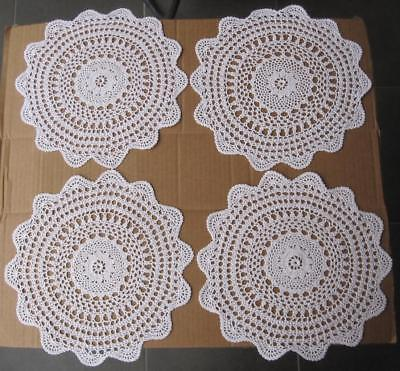 Set of FOUR Vintage Hand Crochet DOILIES 'NEW NEVER USED'