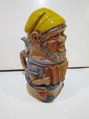 Vintage Dwarf Gnome Character Pottery Beer Stein