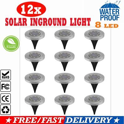 12X Solar Powered Buried Inground Recessed 8Led Light Path Garden Outdoor Patio