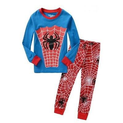 Boys Spiderman Pajamas Set Size 5T Top+Pants Cotton Sleepwear Nightwear Pyjamas