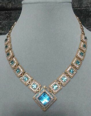 AAA Quality 925 Sterling Silver Jewelry Sublime Brazil Sky Blue Topaz Necklace