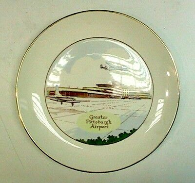 GREATER PITTSBURGH INTERNATIONAL AIRPORT Souvenir Plate 1940s Lockheed Starliner
