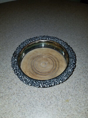 Antique Silver & Wooden Wine Bottle Coaster MUST SEE!!