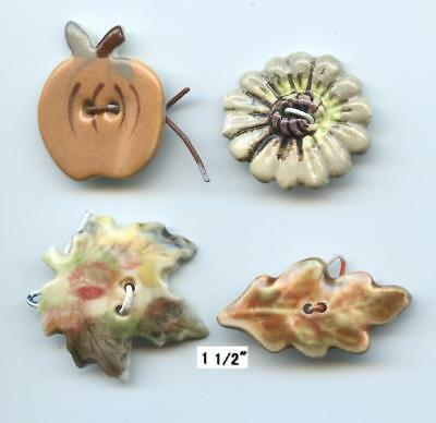 FALL THEME REALISTICS LEAVES APPLE FLOWER buttons CERAMIC REALISTIC