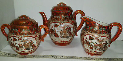 Vintage to Antique Japanese Kutani Porcelain Tea Set Teapot, Sugar Jar & Creamer