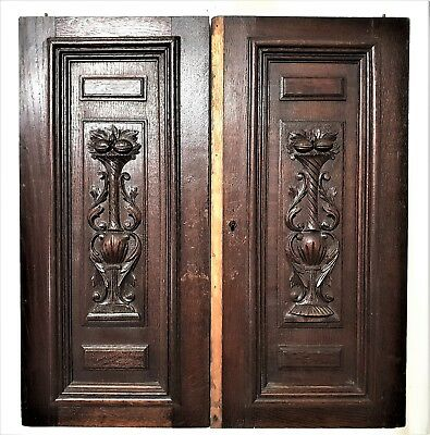 Pair Gothic Scroll Leaves Door Antique French Architectural Salvage Furniture