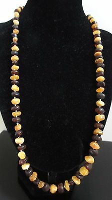 Antique Rare Old Egg Yolk & Cognac Genuine Baltic Amber Necklace