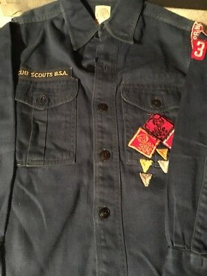 Cub Scouts BSA Vintage 1960sOfficial Princeton NC Long Sleeve Shirt  Blue Cotton