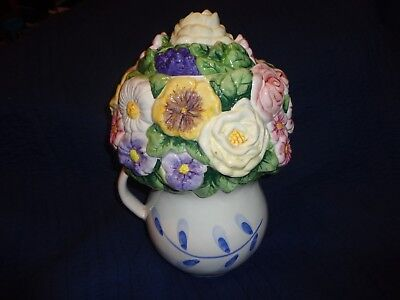 """Beautiful Ceramic """" Flowers & Berrys """" In A Pitcher ~Cookie Jar  ~ Made In China"""