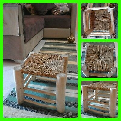 Vintage Old Moroccan Primitive Handmade Foot Stool Authentic Chair 13/11 inches