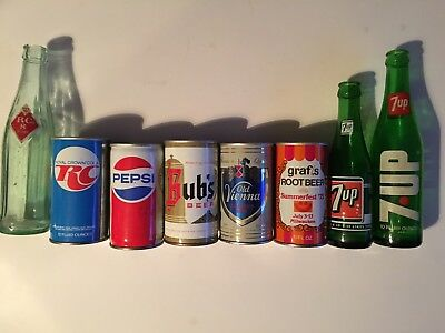 AWESOME!! VINTAGE,SODA CANS & BOTTLES, Pepsi,RC,7 Up Grafs,beer,