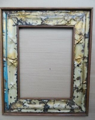 ANTIQUE TIN CEILING RECLAIMED MIRROR PHOTO FRAME Shabby Chic decor WOOD BACK-5