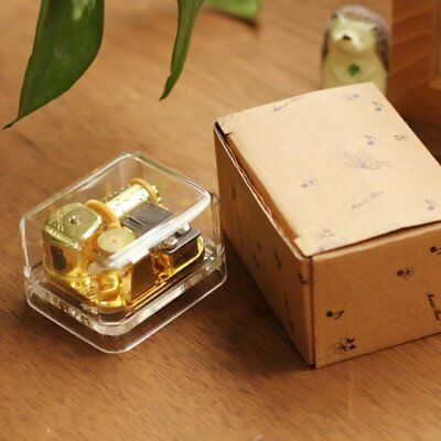 Complete Songs Acrylic Hand Crank Gurdy Gold Movement Music Box Kids Girls Gifts