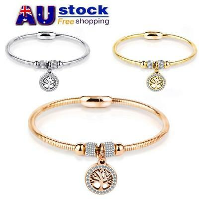 AU Women Stainless Steel Magnetic Bracelet Therapy Energy Rhinestone Bangle Gift
