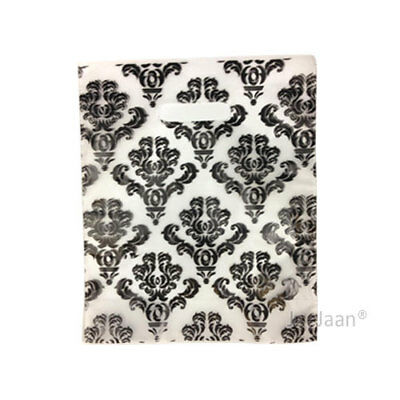 """200 Damask Black Plastic Carrier Bags 15""""x18""""+3"""" Gift Party Carry Patch Handle"""