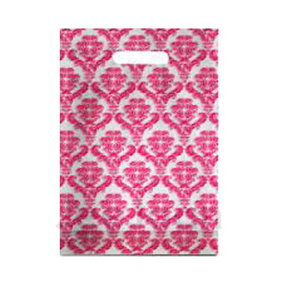"""500 Damask Pink Plastic Carrier Bags 15""""x18""""+3"""" Gift Party Carry Patch Handle"""