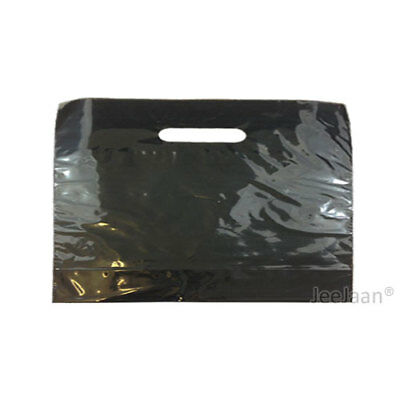 """500 Black Plastic Carrier Bags 22""""x18""""+3"""" Gift Party Shop Carry Patch Handle"""