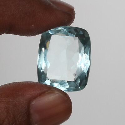 24.80 Ct. Natural Aquamarine Greenish Blue Color Cushion Cut Loose Certified Gem