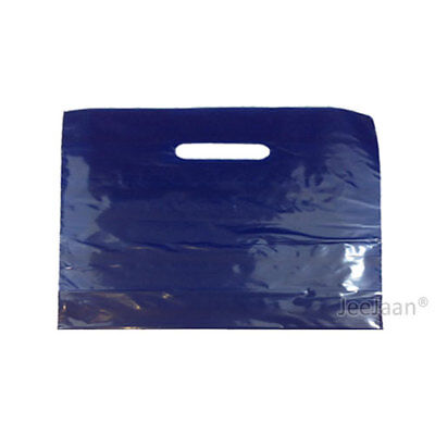 """500 Navy Blue Plastic Carrier Bags 22""""x18""""+3"""" Gift Party Shop Carry Patch Handle"""