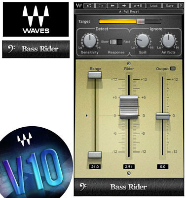 Waves BASS RIDER Plug-in v9/v10 *NEW*+1yr WUP Gain-leveler for Bass/Kik/Toms/etc