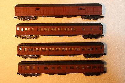 4X Passenger Carriages, Repainted, Standard Couplers & Wheels Intact See Pics