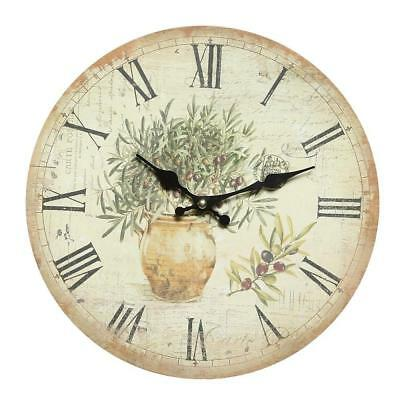 G1251: Mediterranean Country House Wall Clock,Kitchen Clock, Olive Branches with