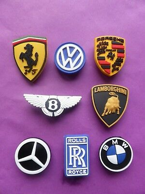 8 Cars Badges Logos jibbitz croc shoe charms loom bands cake toppers decorations
