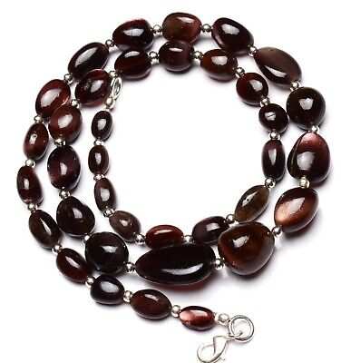 "Natural Gem Brown Scapolite Smooth Nugget Beads Necklace 21"" Cat's Eye Effect"