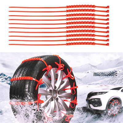 10 Pcs Snow Tire Chain for Car Truck SUV Anti-Skid Emergency Winter Driving USA