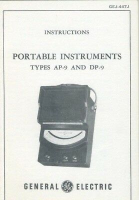General Electric Instructions Portable Instruments Types AP-9 and DP-9 NOS