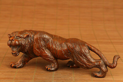 antique boxwod hand carved old  tiger statue figure netsuke collectable