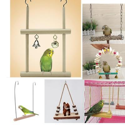 Birds Wooden Ladder Climb Macaw Cage Swing Shelf Parrot Bite Play Toy