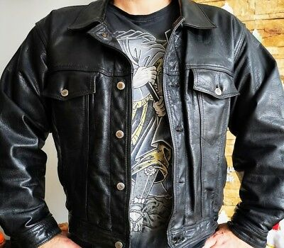 Vintage Rare Distressed Trucker Cafe Racer Thick Premium Leather Pilot Jacket XL