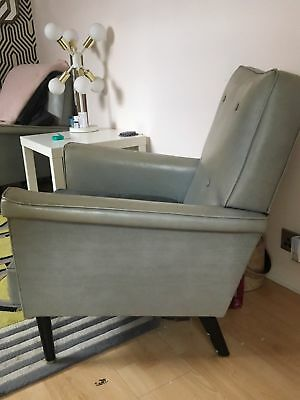 Vintage Mad Men Pair (2) Of 1960s Armchairs Gorgeous Blue-grey Faux Leather