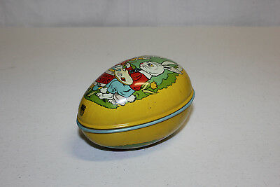 Vintage Chein Tin Litho Happy Easter Bunny Rabbit Egg Candy Container EX L@@K