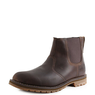 52e8ab338ea1 MENS TIMBERLAND LARCHMONT Chelsea Gaucho Brown Leather Boots Size ...