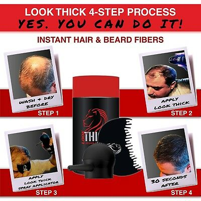 2ND GENERATION LOOK THICK Hair & Beard Fibers 3 Piece Set Thinning Bald Hair