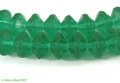 Green Vaseline Trade Beads Faceted New Czech African