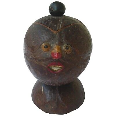 Antique Figural Hand Carved Gourd, Lidded Container 19th Century
