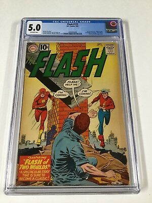 Flash 123 Cgc 5.0 Ow Pages 1st Golden Age Flash In Silver Age 1st Earth II 2