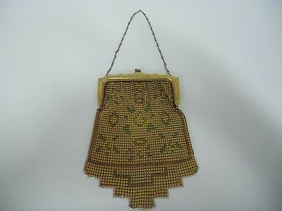 Whiting & Davis Co. Art Deco enamel mesh purse