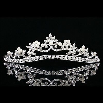 Bridal Floral Rhinestone Crystal Pearls Wedding Crown Tiara 7870